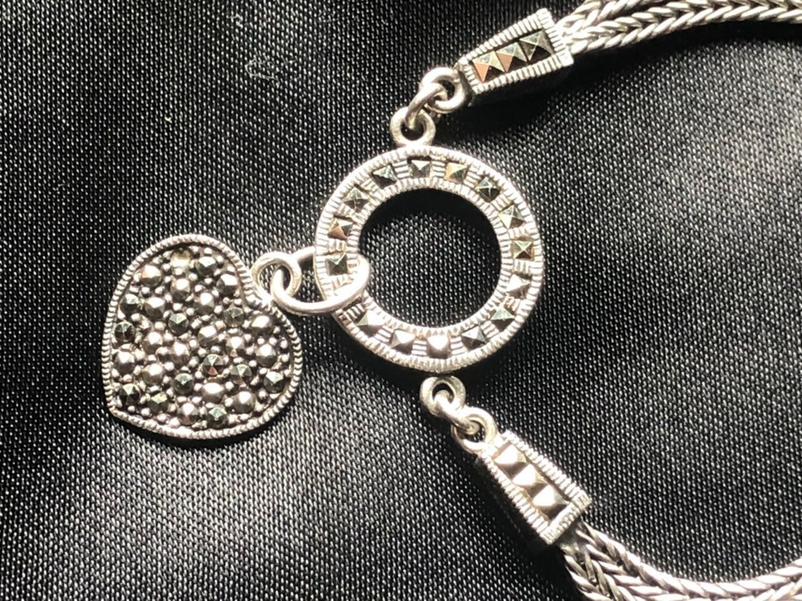 Romantic Silver Marcasite Heart Bracelet
