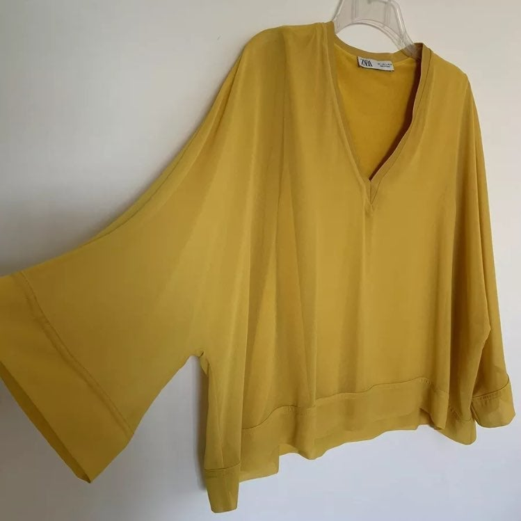 Zara Mustard Yellow Dolman Sleeve Blouse