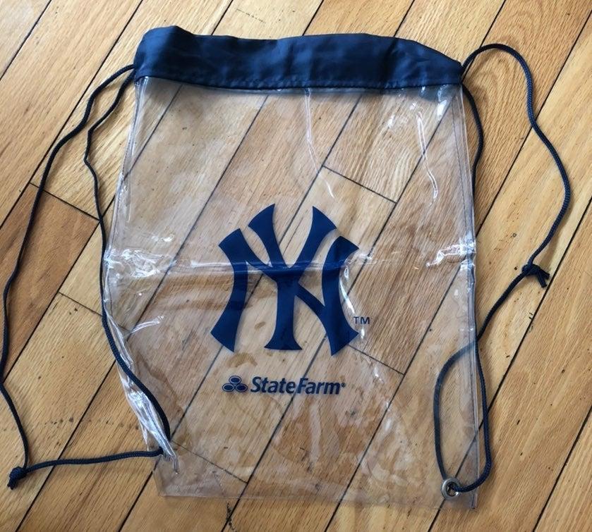 NY Yankees Clear Drawstring Bag