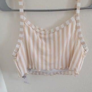 Tan and White Striped bikini top