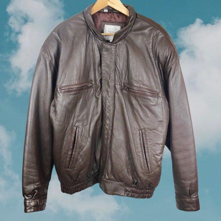 Dior Vintage Leather Bomber Jacket 42