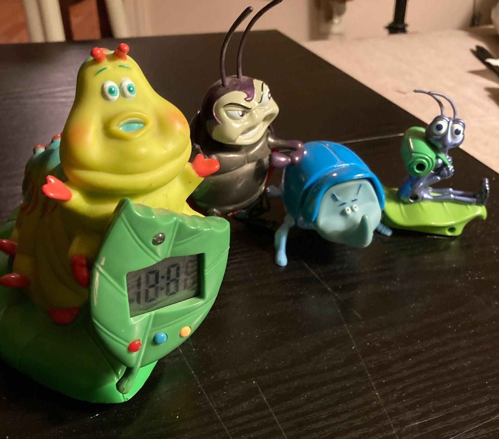 Disney A Bug's Life Alarm Clock + 3 Toys