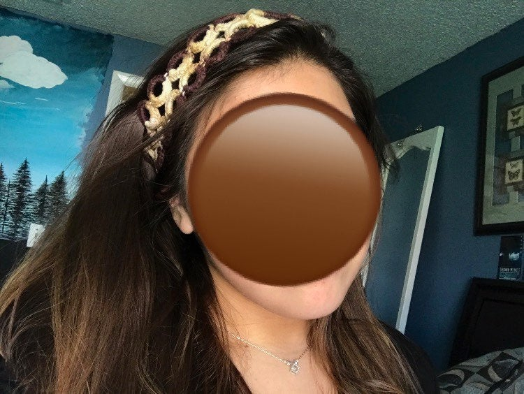 brown knit headband , hair accessory