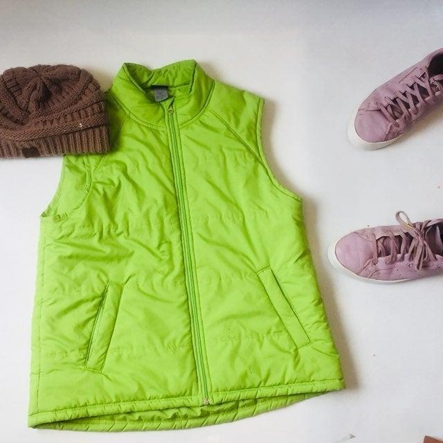 Bright green champion puffer vest