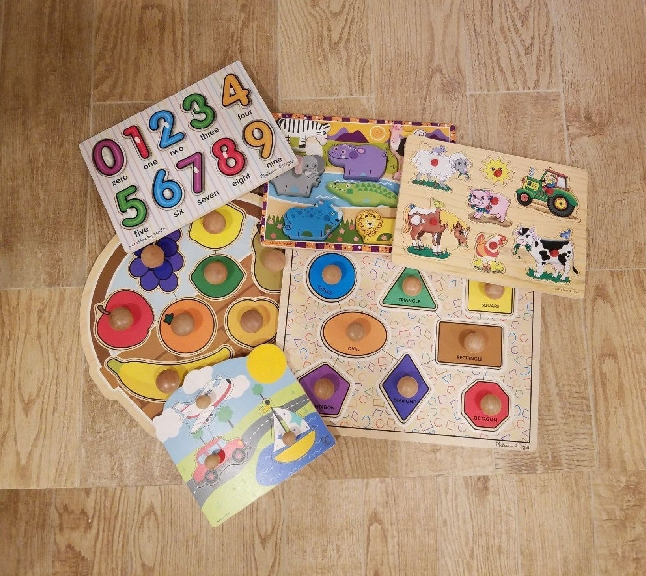 Wood puzzles bundle Melissa and Doug etc