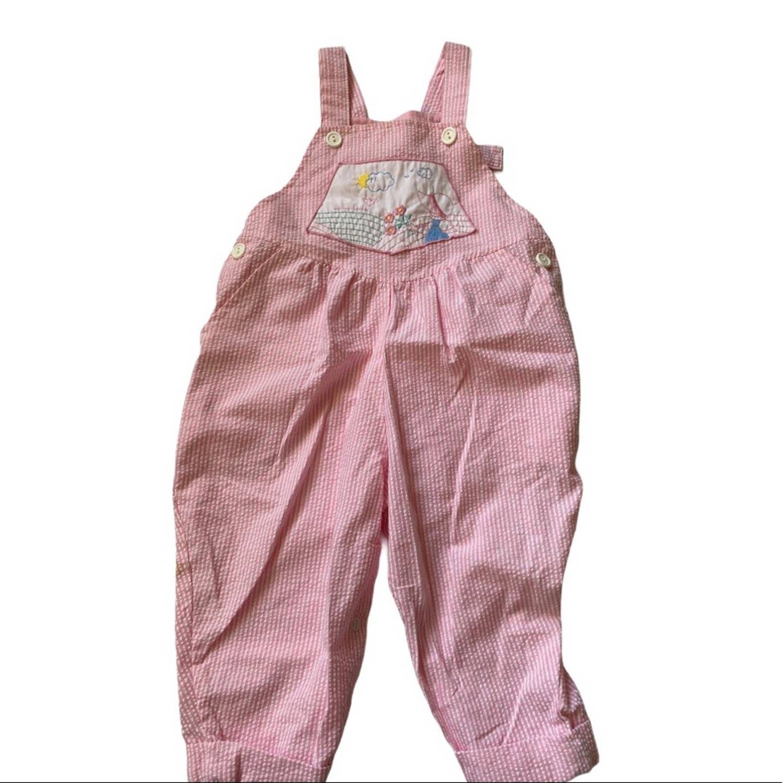 Vintage pinstripe pink overalls 18 m