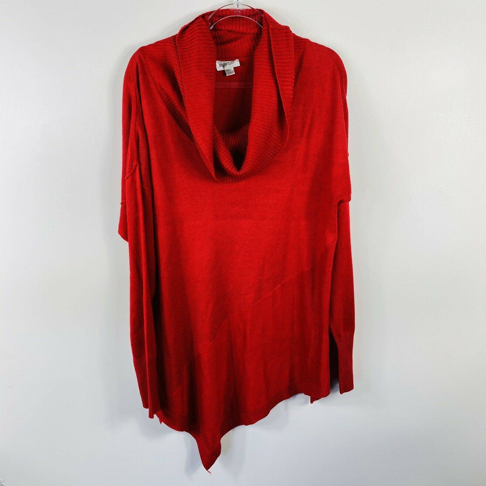 Avenue Size 18 20 Red Cowl Neck Sweater