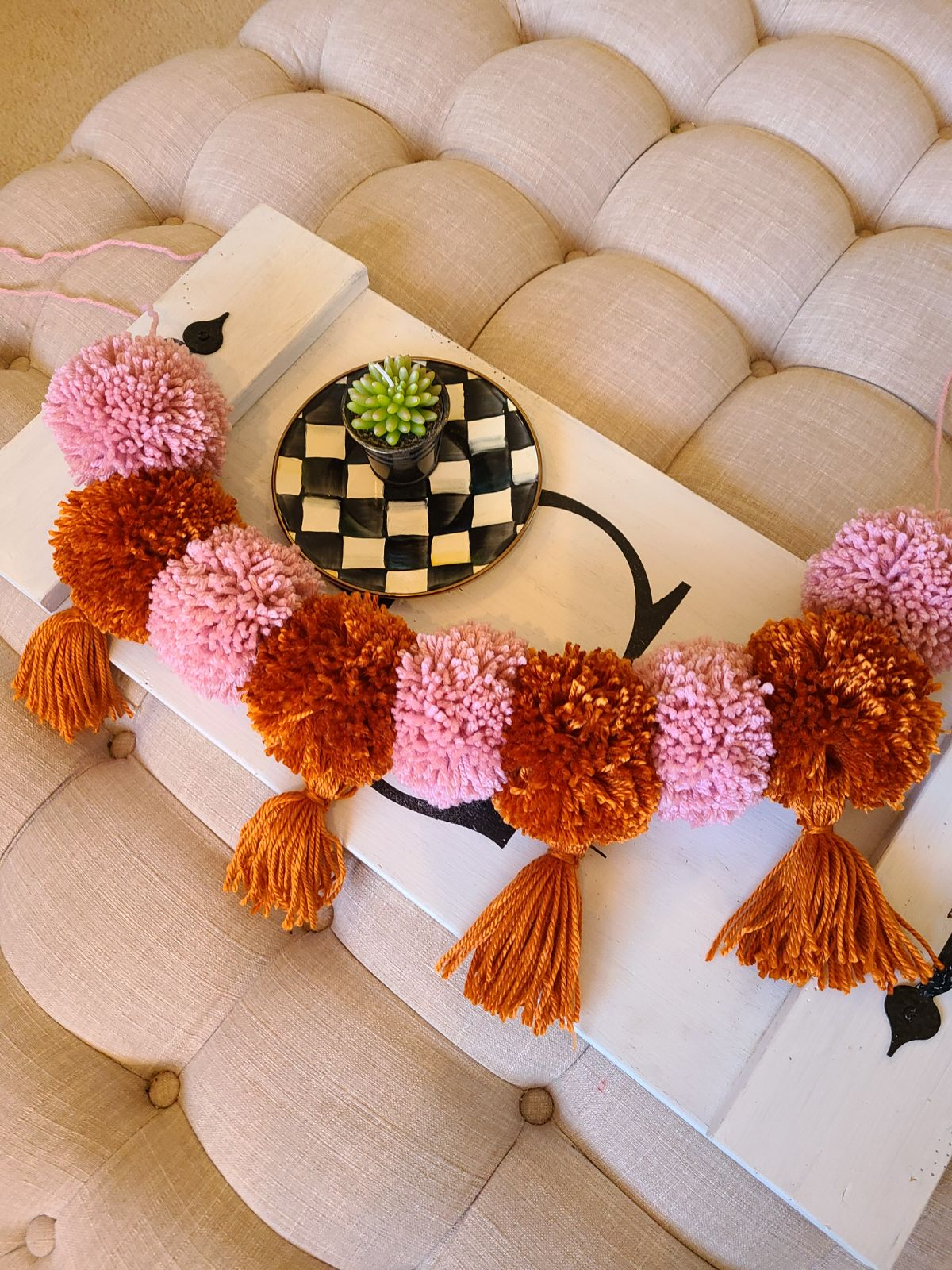 Blush and Rust Pom and Tassel Garland
