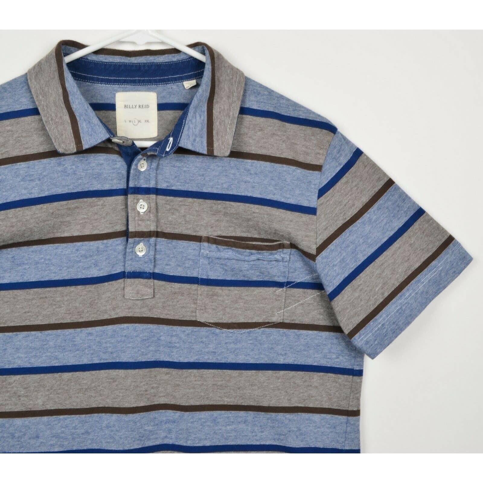 Billy Reid Men's Large Blue Striped Polo