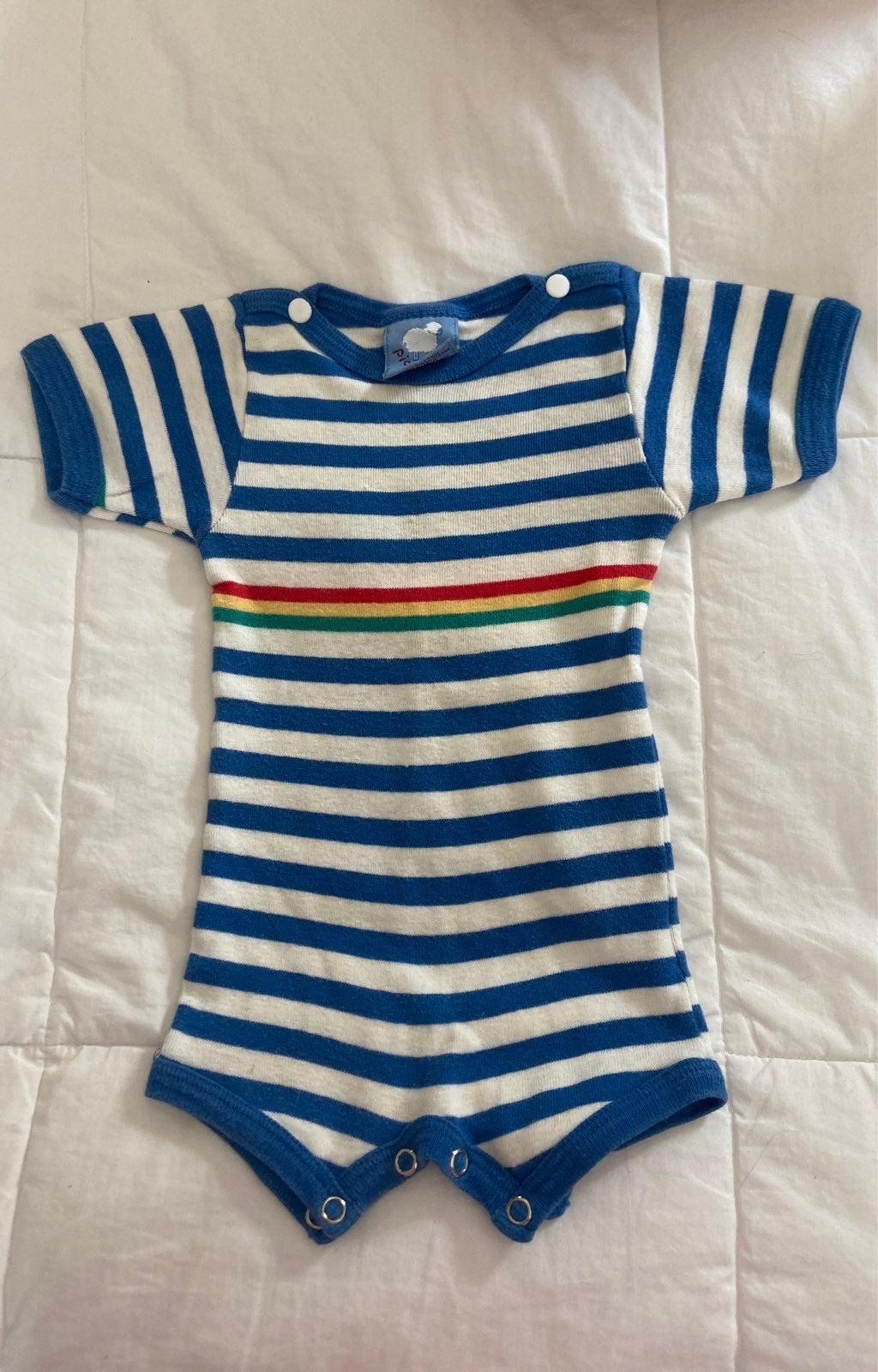 Vintage Picco Knit Striped Baby Onesie