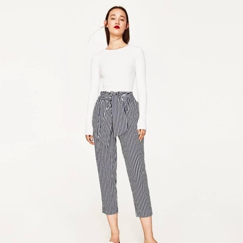 Zara Cropped Tie Waist Striped Pants