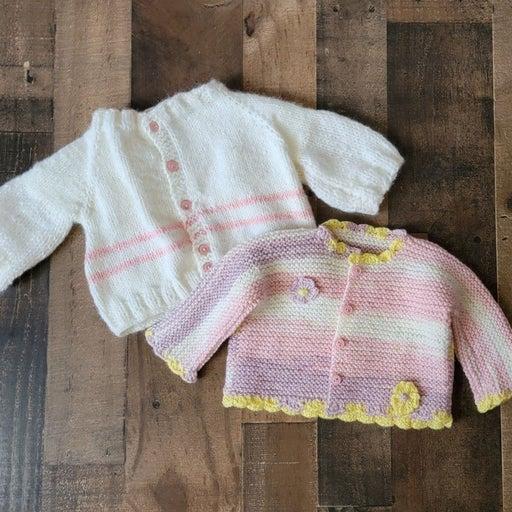 Handmade Knit Baby Girl sweater cardigan