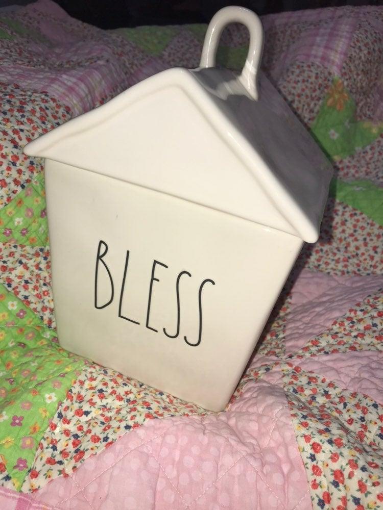 Rae Dunn BLESS this House Big Cookie Jar
