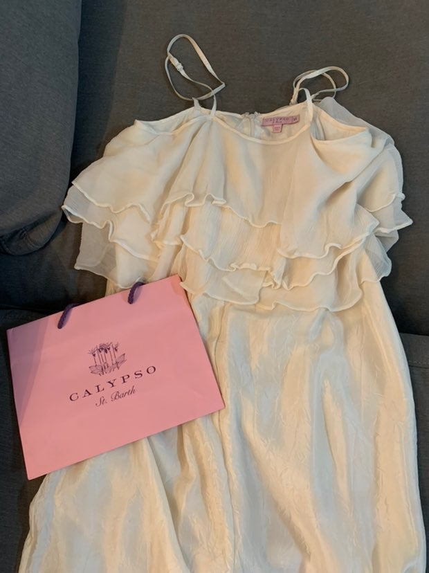 Calypso Silk Maxi Dress in Ivory
