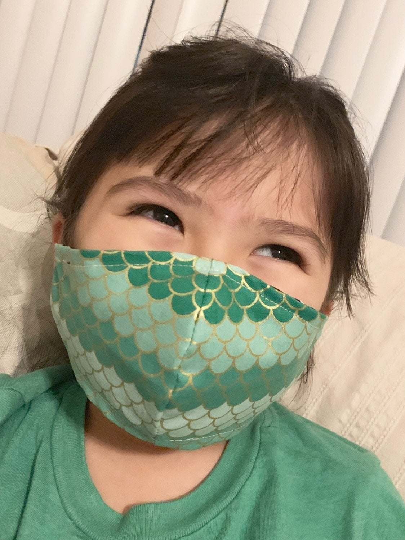 1 Child DINO Lizard Handmade Face Mask