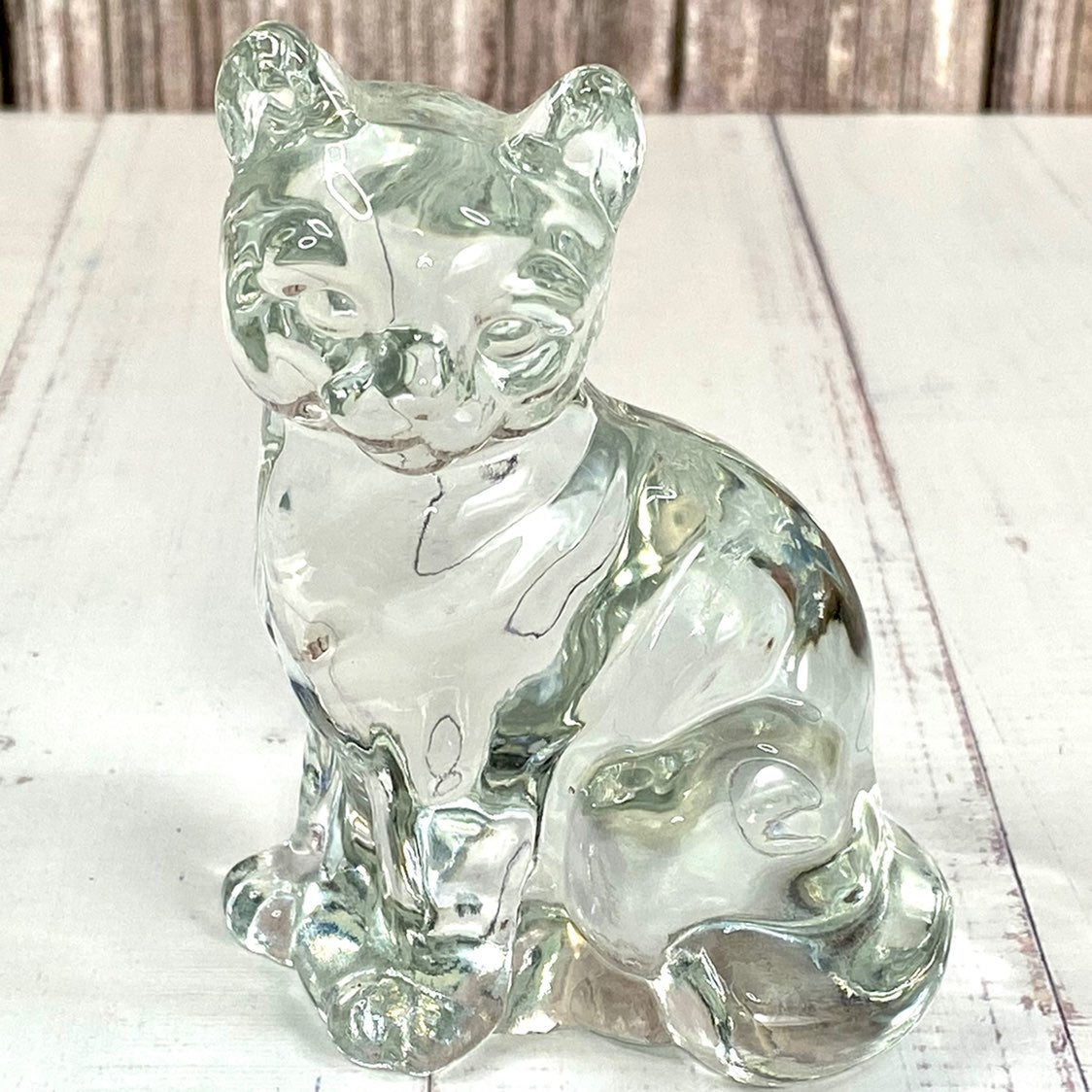 Crystal sitting cat decoration