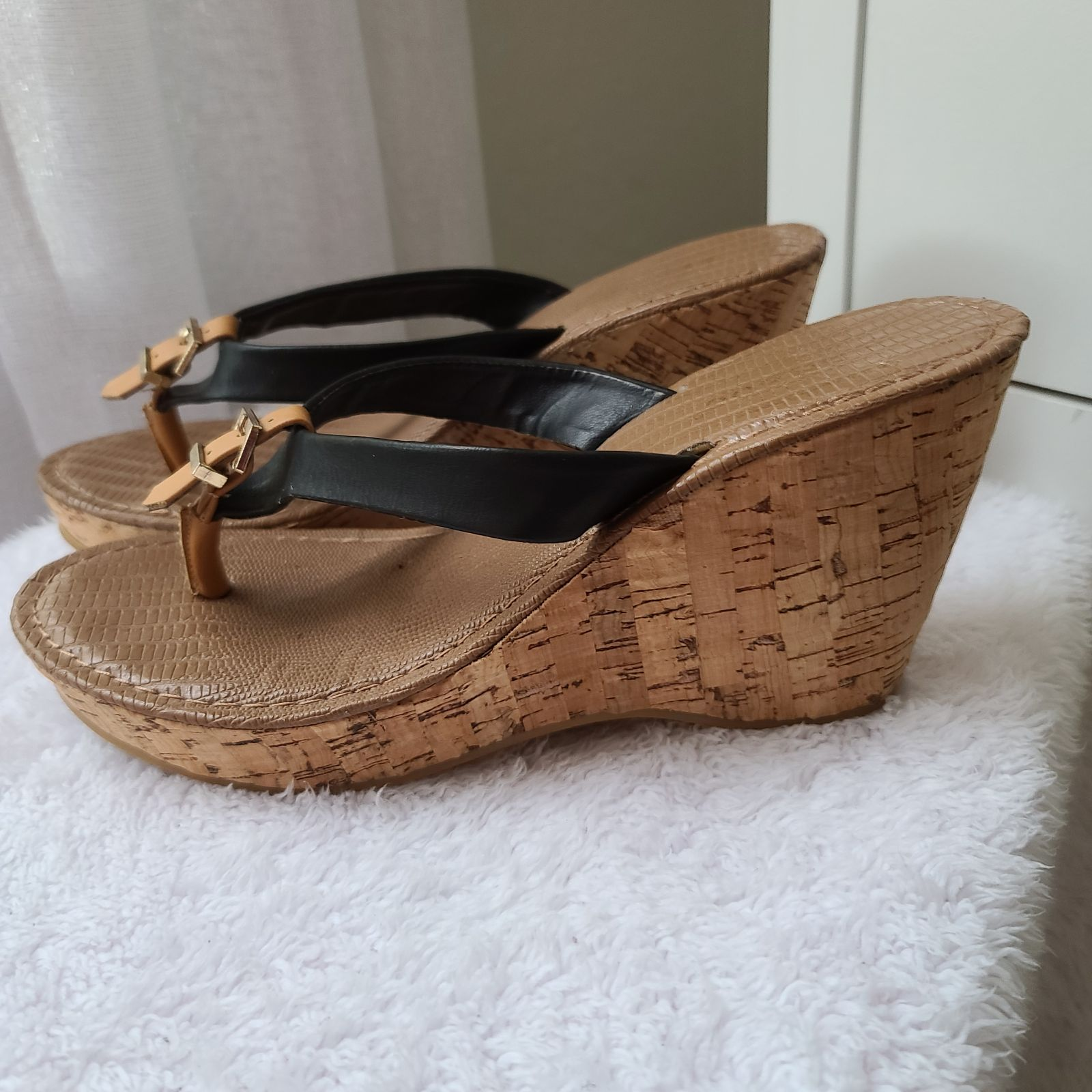 brown and black bamboo platforms buckle