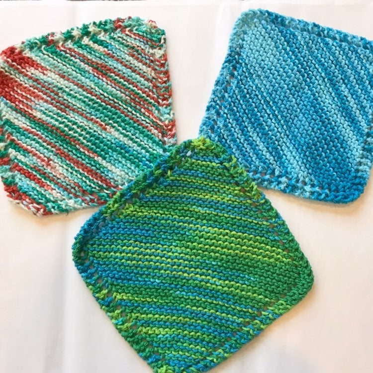 New, set of (3) Handmade Knit Washcloths