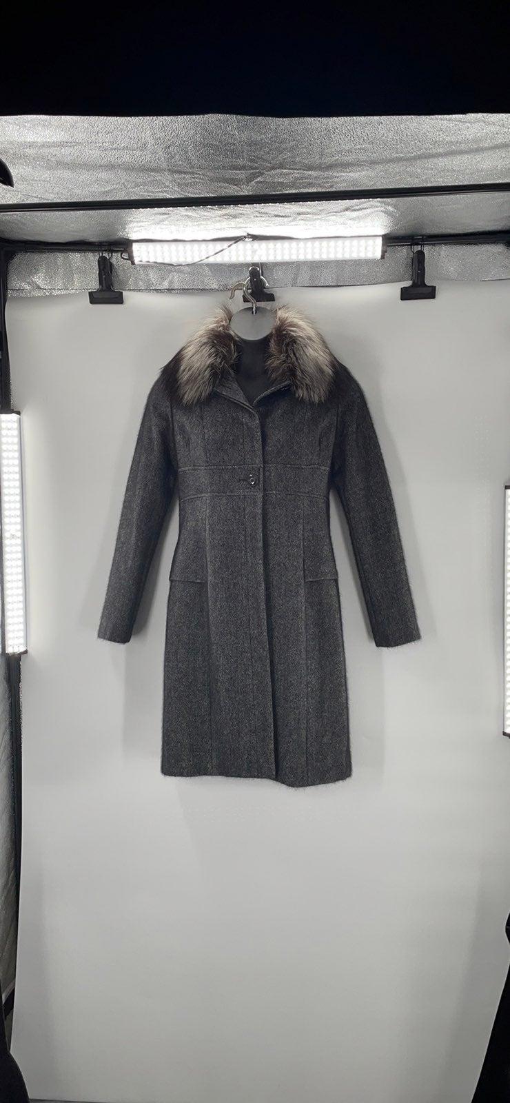 Christian Dior Fur Trim Pea Coat