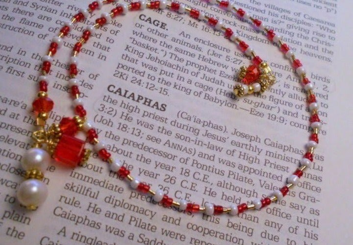 Red White Beaded Gold Charm Bookmarker