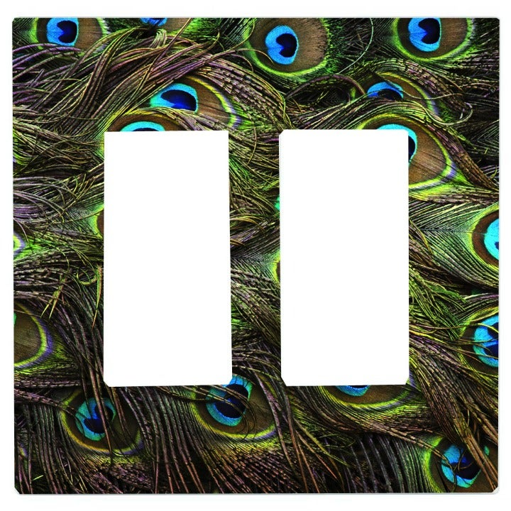 Peacock Feather Double Rocker Plate