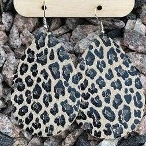 Leather Leopard Teardrop Earrings