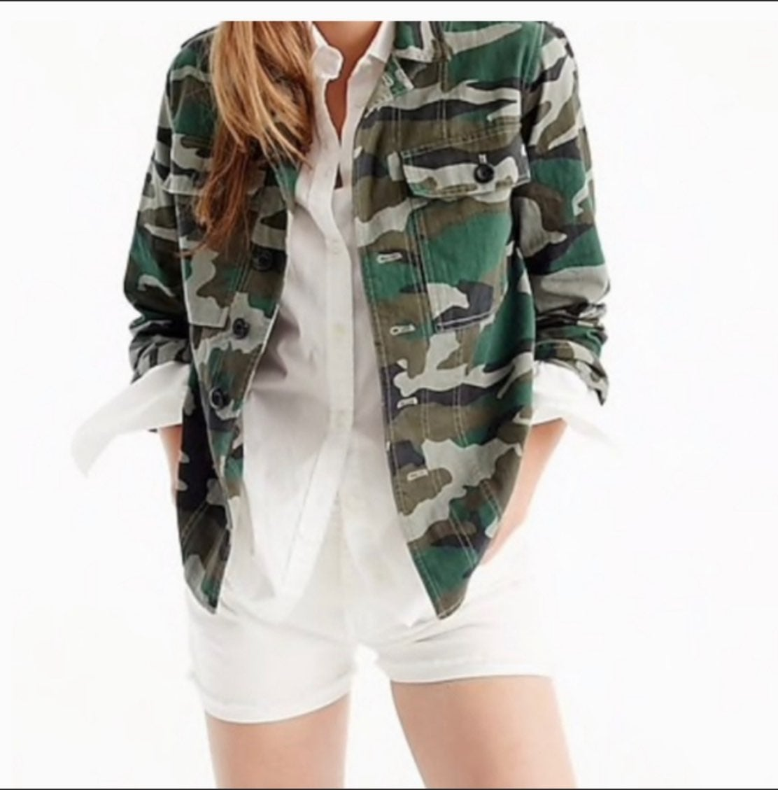 J Crew Camo Utility Shirt Jacket Size Sm