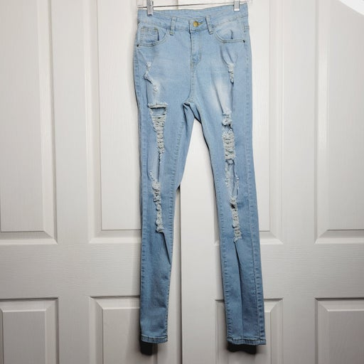 Shein High Rise Ripped Skinny Jeans S