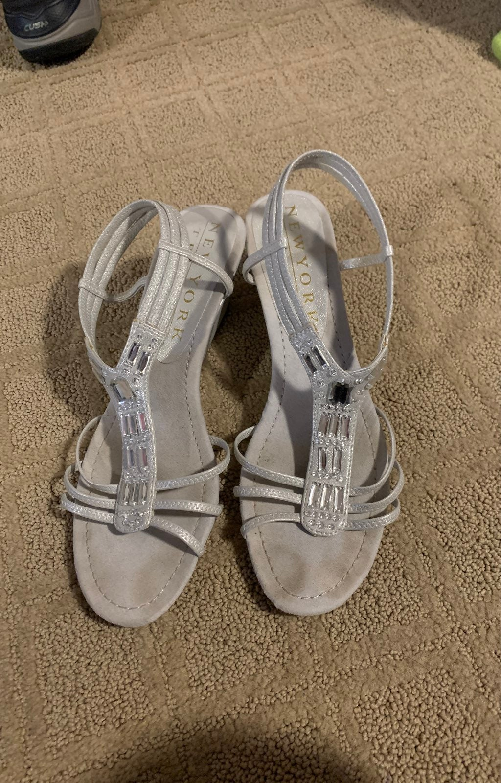 Silver Jeweled Wedge Sandals, size 10