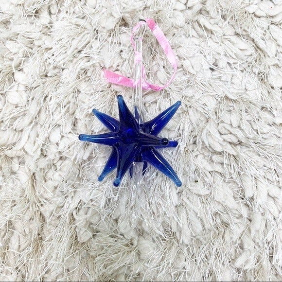 Handmade Set of 2 Glass Star Ornament