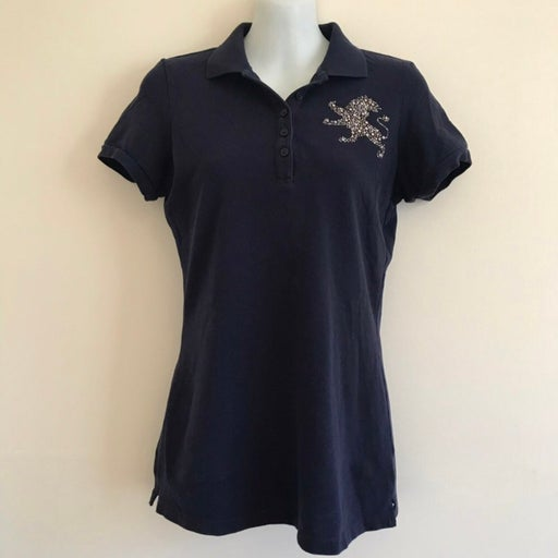 Express Blue Embellished Lion Polo