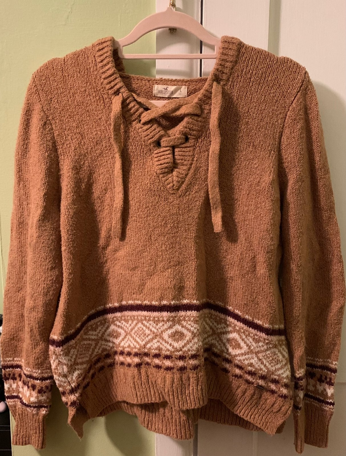 Hollister Brown Hoodie Lace Up Sweater