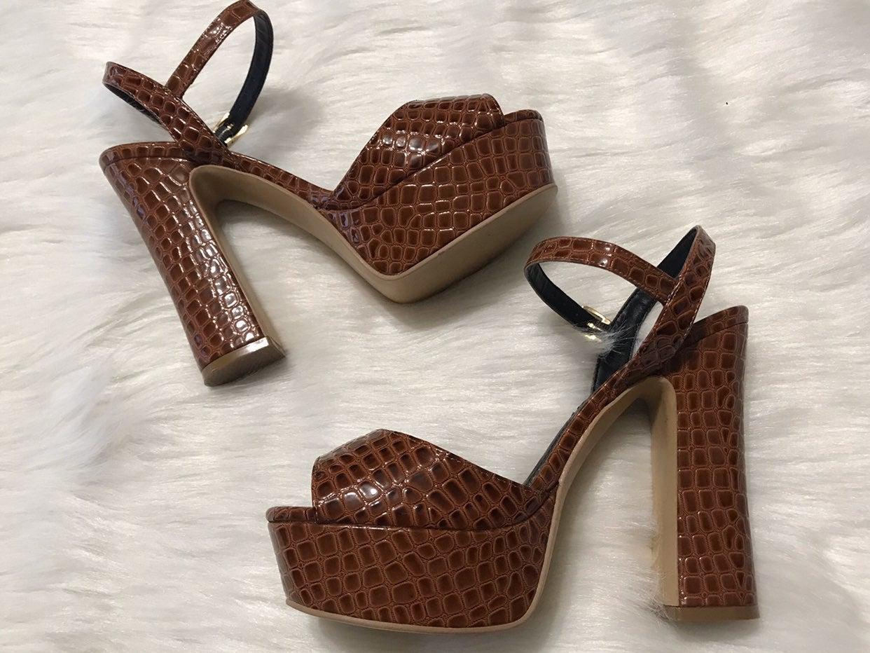 Au Petit Jean Croc Platform Heels