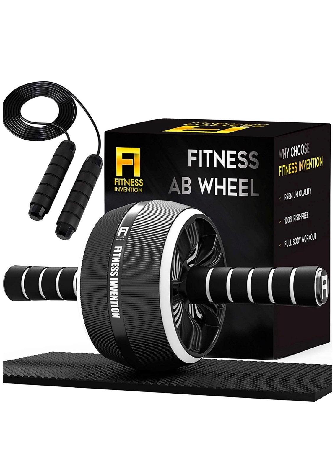3-IN-1 Ab Wheel Roller, Mat, jump rope