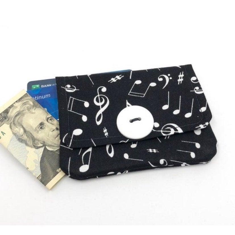 Music Fabric Card Wallet- Handmade