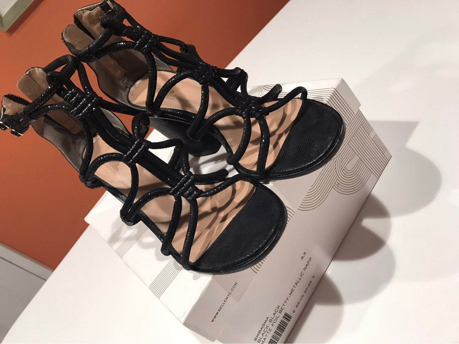 Women's Black All Leather Sandals,9.5 B