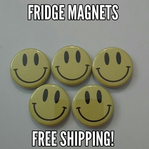 Set 5 Smiley Face Refrigerator Magnets