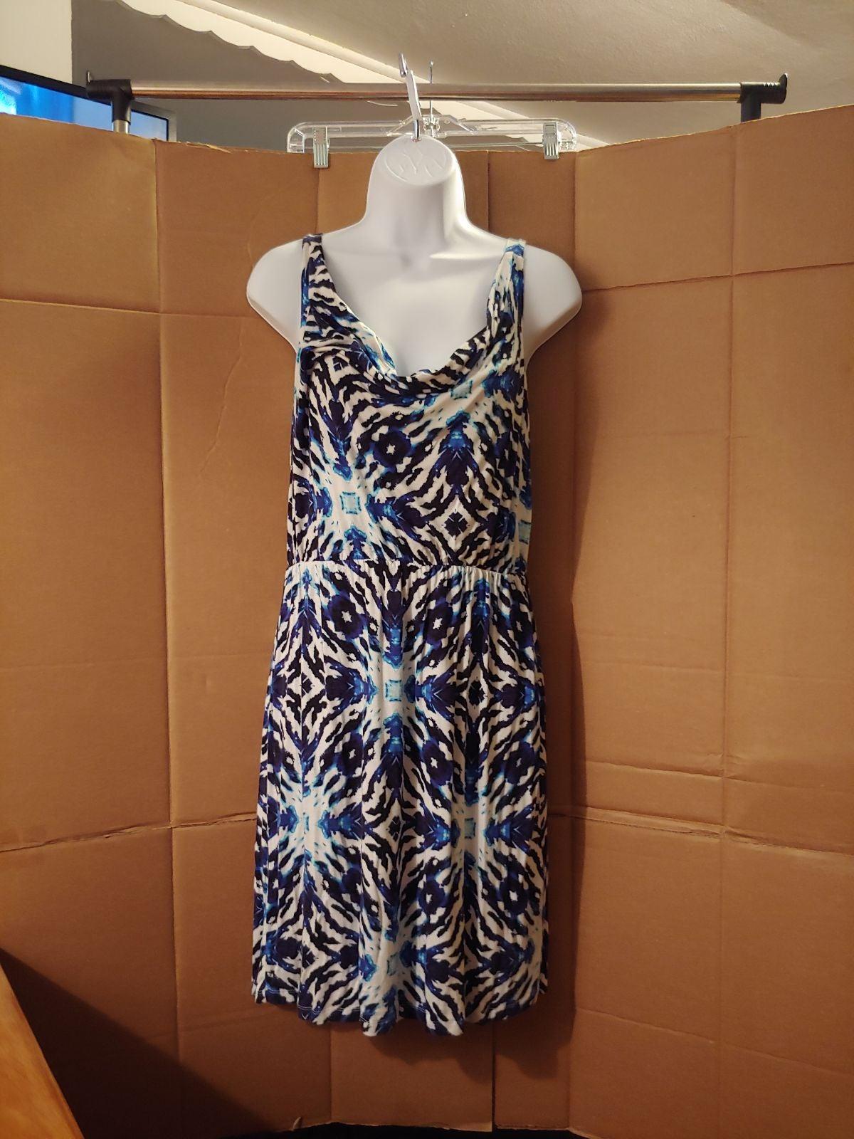 Women's Kenar White,Black,&Blue Dress,M