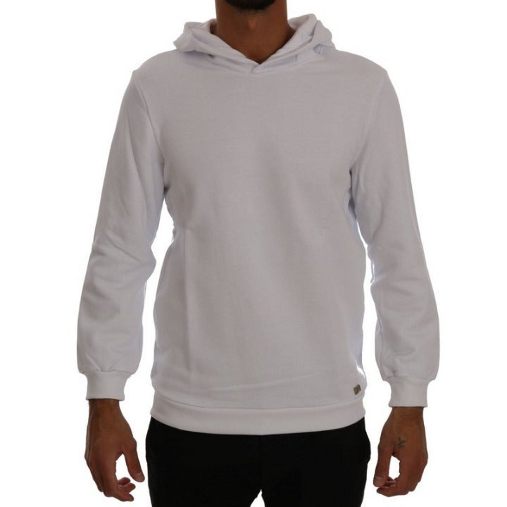DANIELE ALESSANDRINI MEN'S WHITE SWEATER