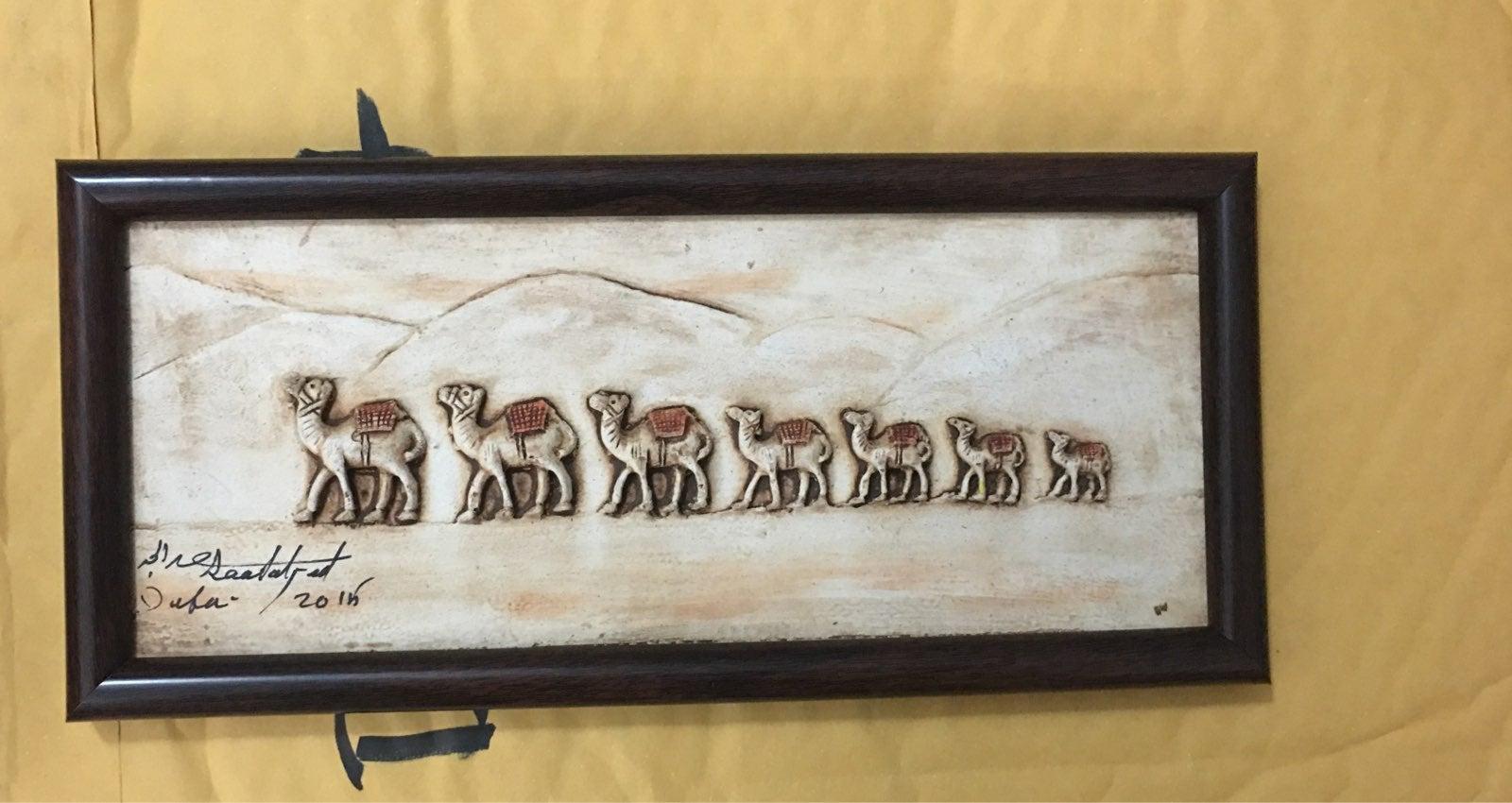 Creative leather art camel caravan decor