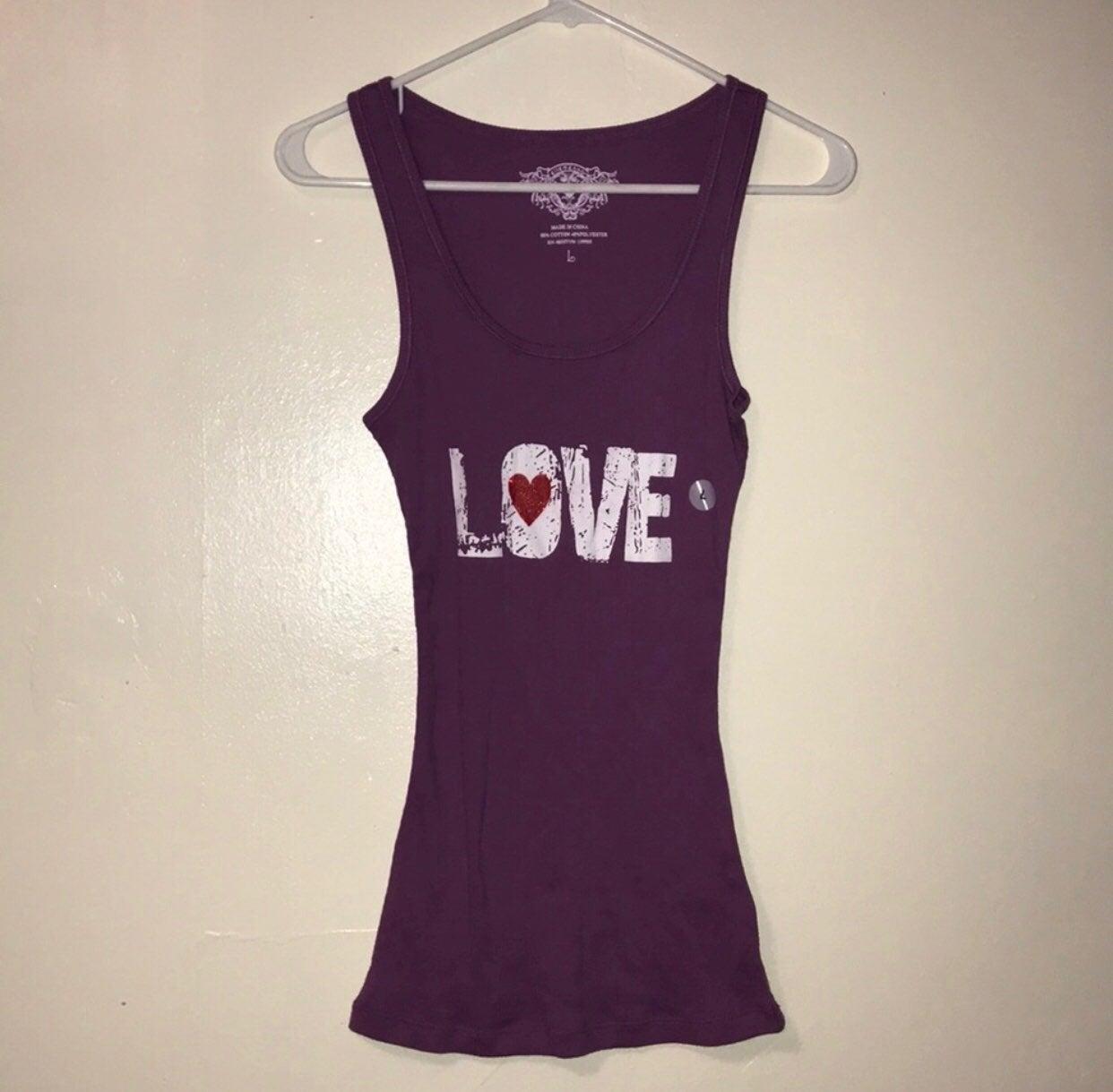 NWT! Purple 'LOVE' ribbed tank top