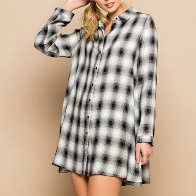 miss love womens black plaid dress