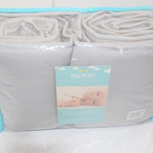 TILL YOU Microfiber Crib Bumper Grey New