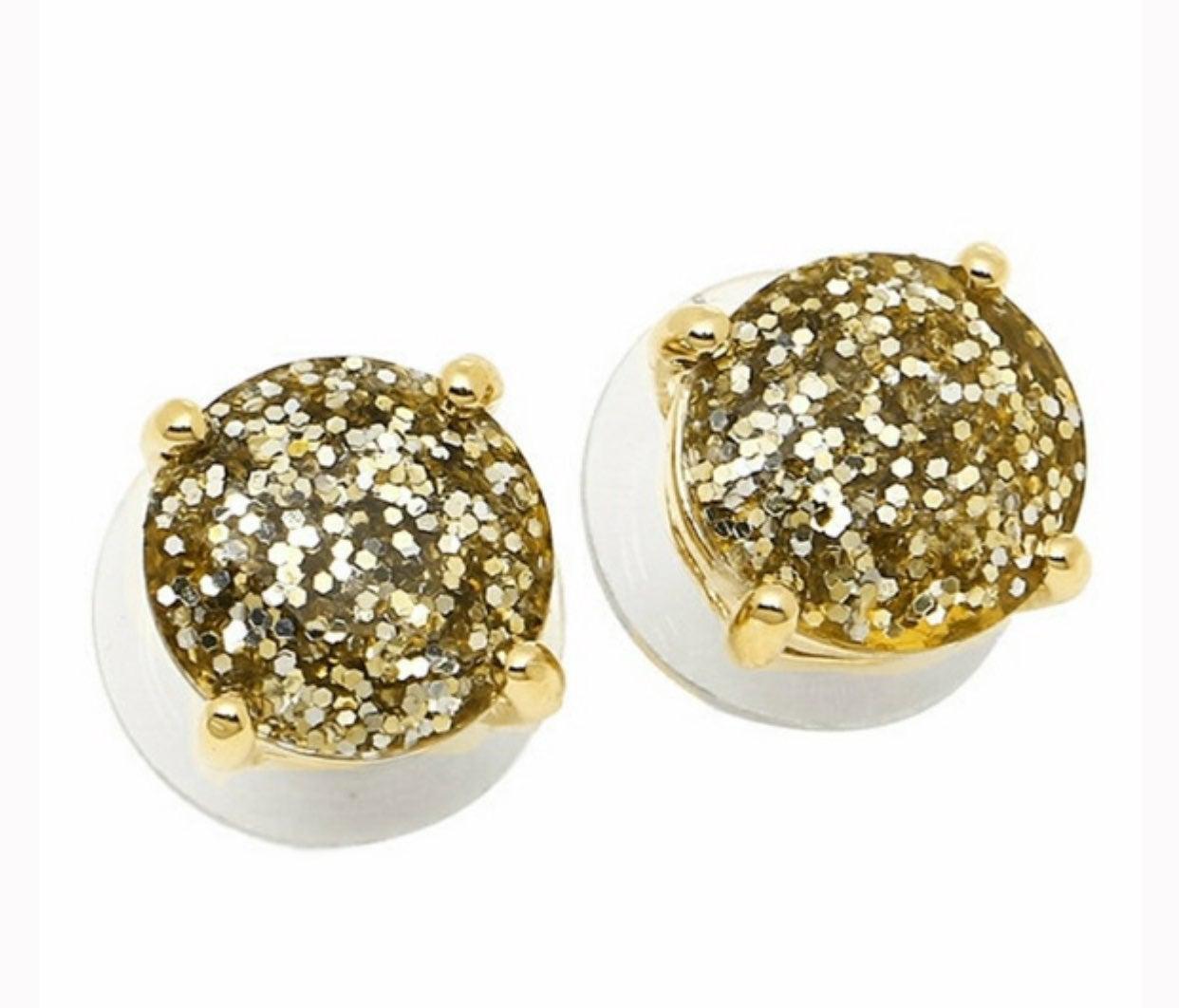 NEW Kate Spade Gold Glitter stud Earring