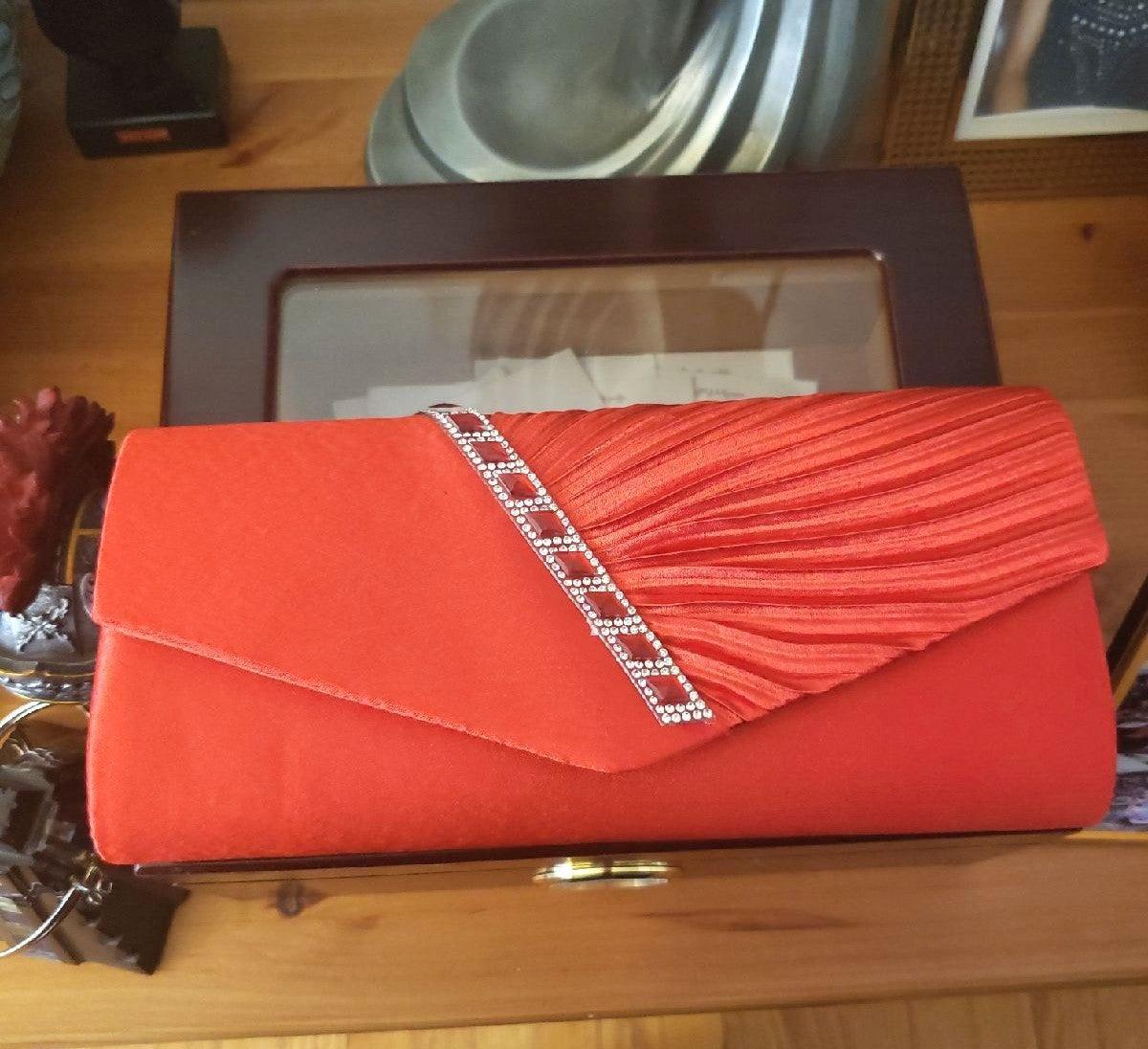 NWT Damara Red Pleated Clutch