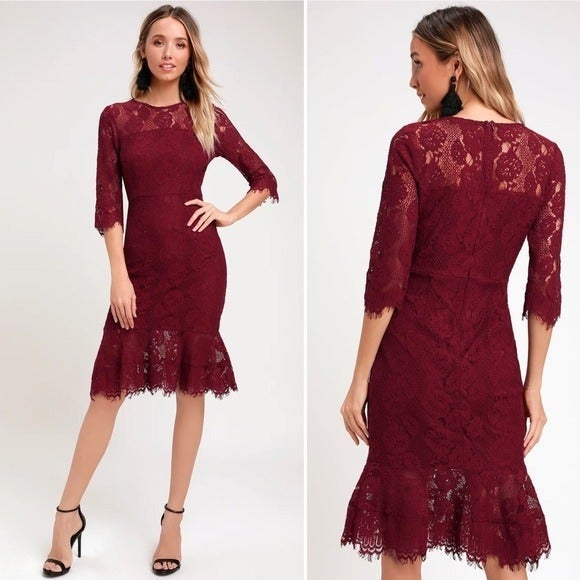 Lulu's Dance With Me Lace Midi Dress L