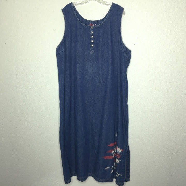 Plus Size Denim Jumper Dress 26W