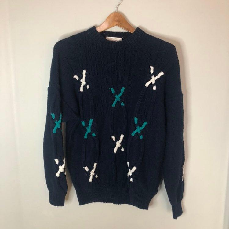 Vintage John Ashford hand knit Sweater L