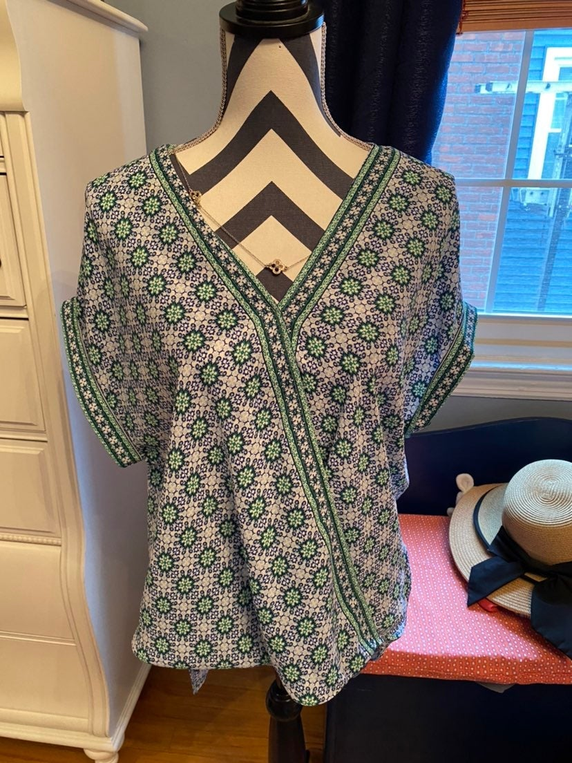 NWOT blue and green patterned blouse