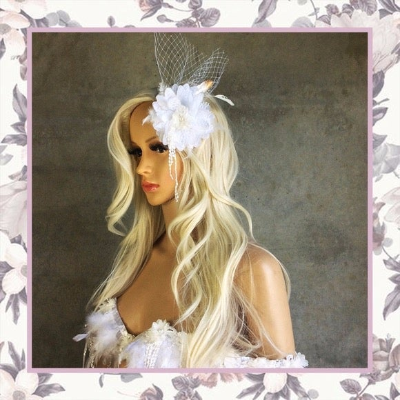 FLOWER FASCINATOR PINUP BRIDE WEDDING
